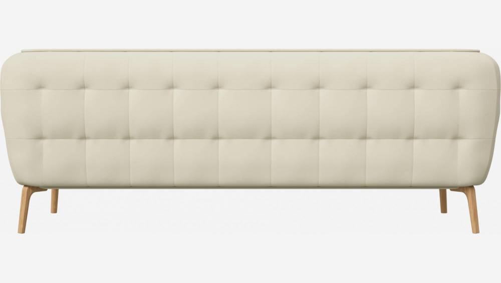 3 seater sofa in Savoy semi-aniline leather, off white and natural oak feet