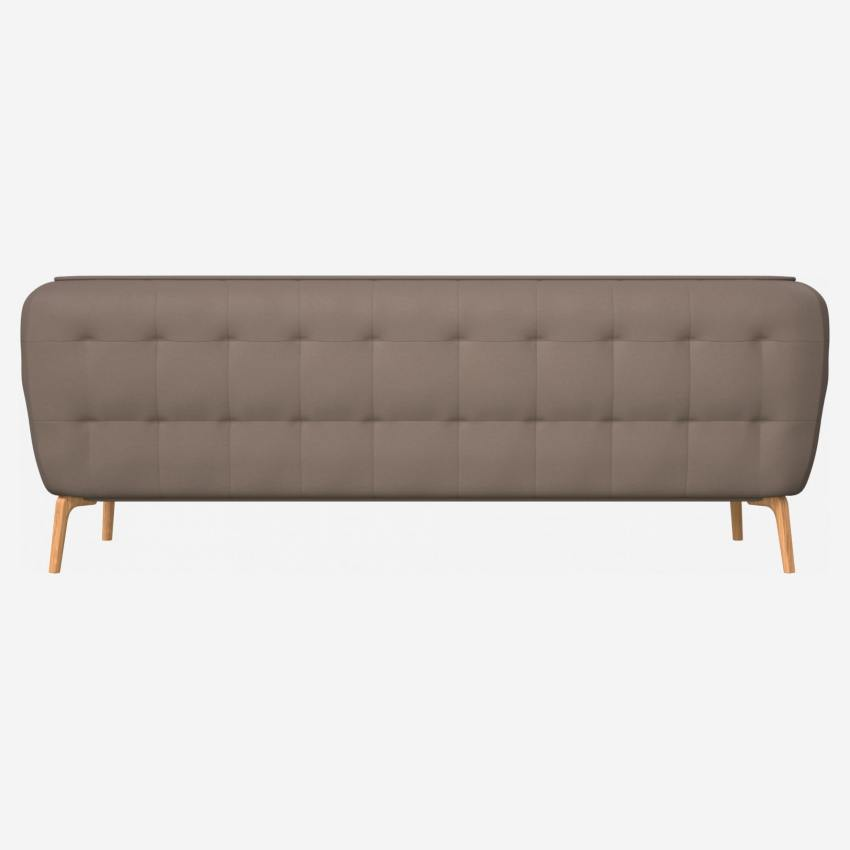 3 seater sofa in Eton veined leather, stone and natural oak feet