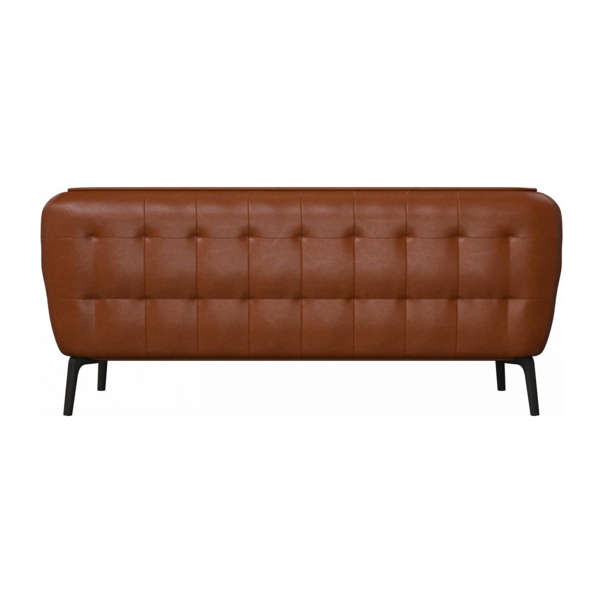 2 seater sofa in Vintage aniline leather, old chestnut and dark feet n°3