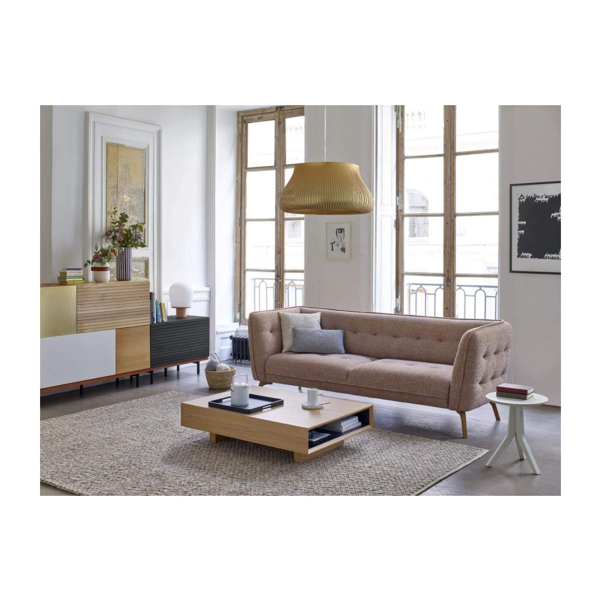 2 seater sofa in Lecce fabric, muscat and natural oak feet n°5