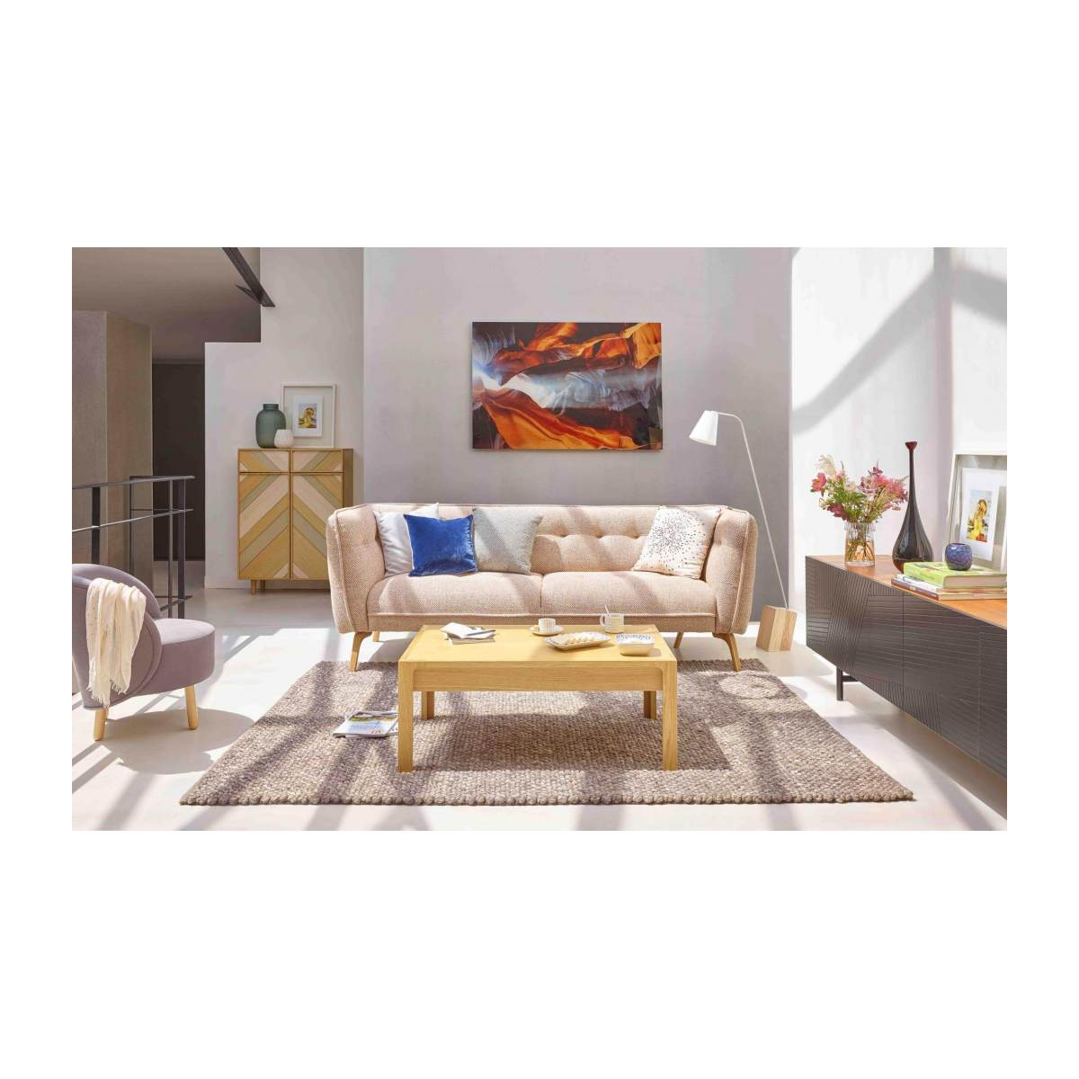 2 seater sofa in Lecce fabric, muscat and natural oak feet n°6