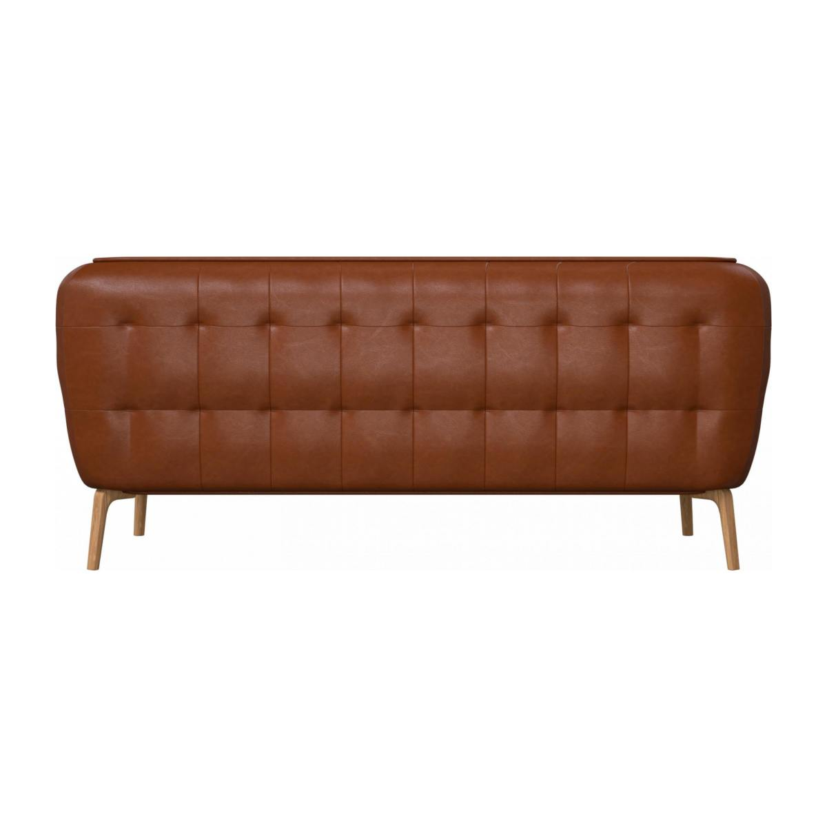 2 seater sofa in Vintage aniline leather, old chestnut and natural oak feet n°3