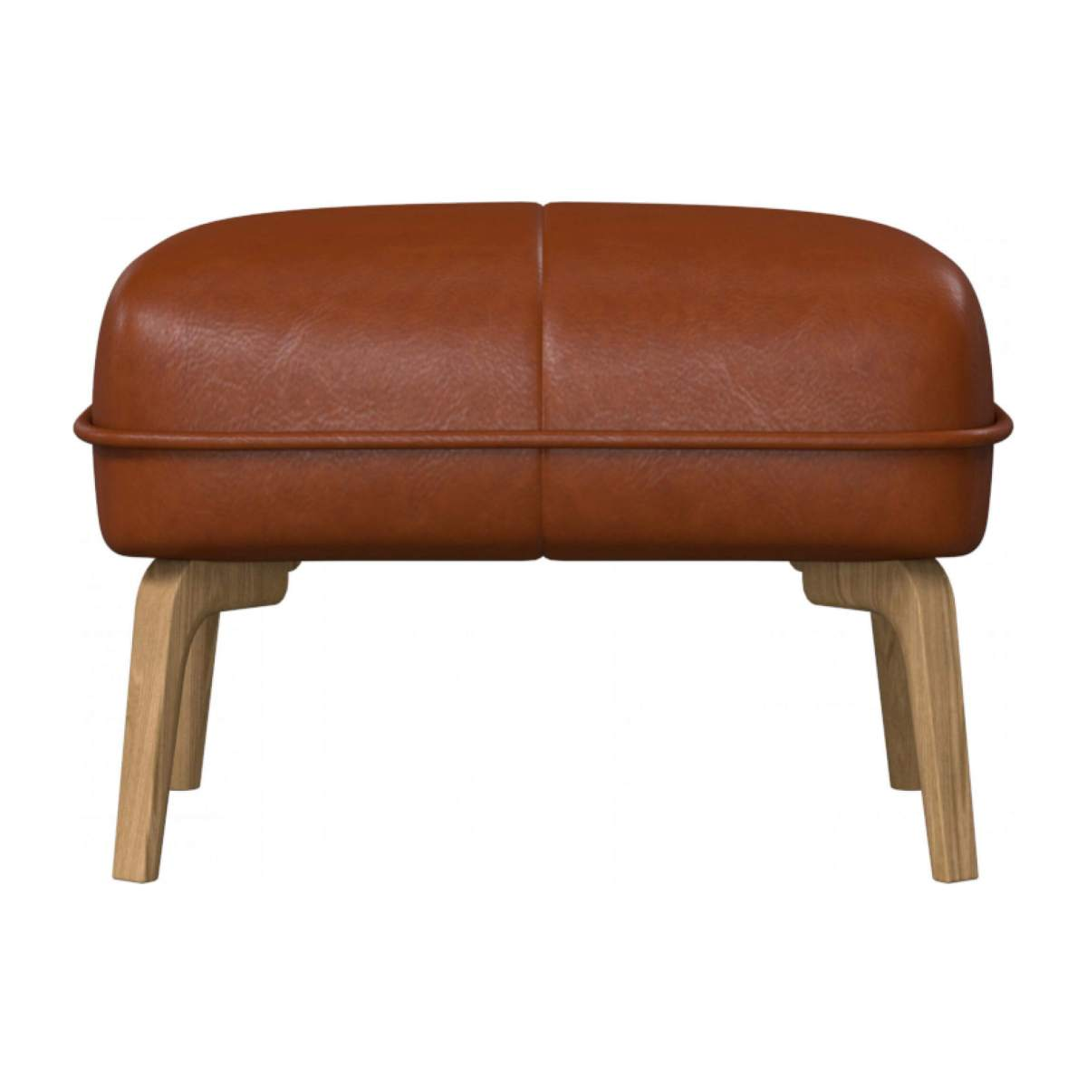 Footstool in Vintage aniline leather, old chestnut and natural oak feet n°3