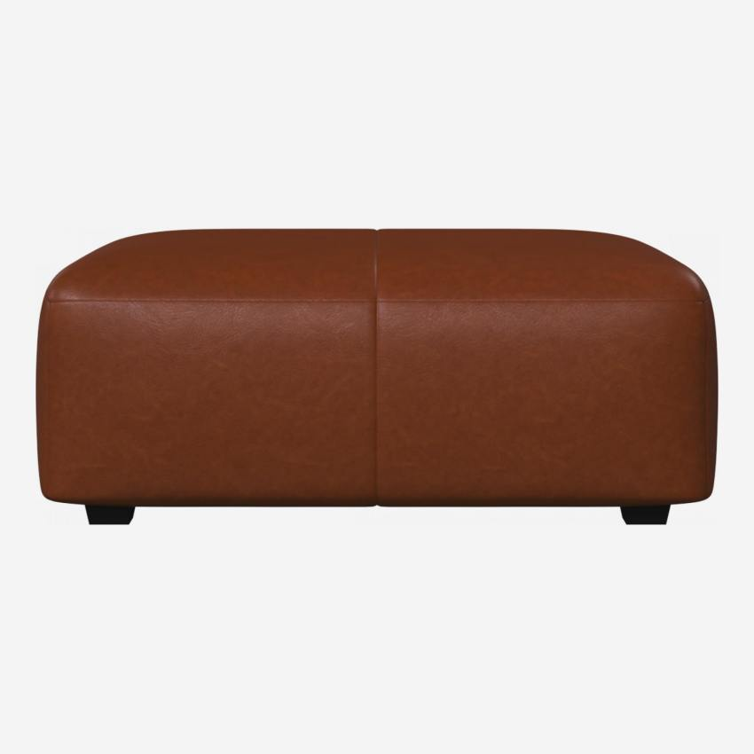 Footstool in Vintage aniline leather, old chestnut