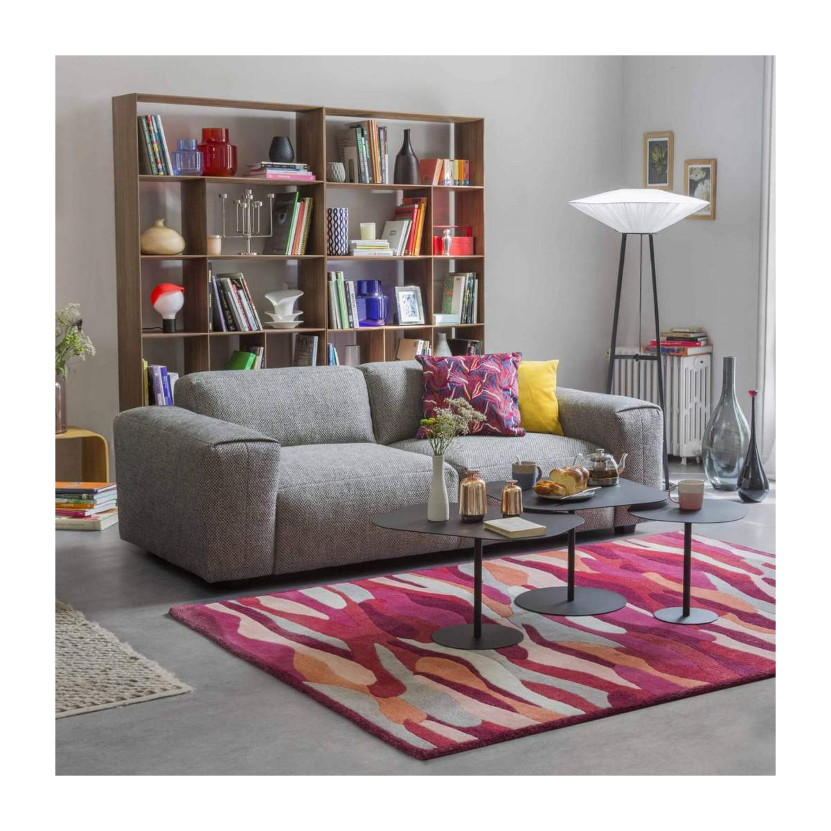 3 seater sofa with chaise longue on the right in Super Velvet fabric, silver grey n°5