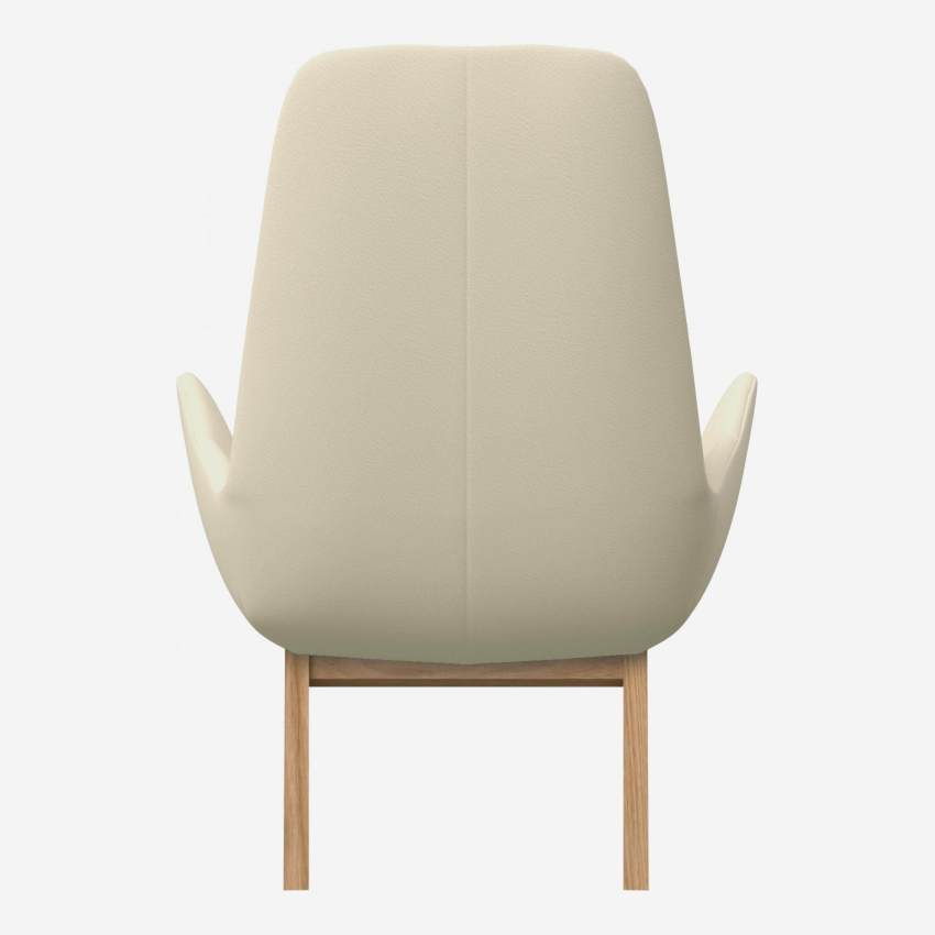Armchair in Savoy semi-aniline leather, off white with oak legs