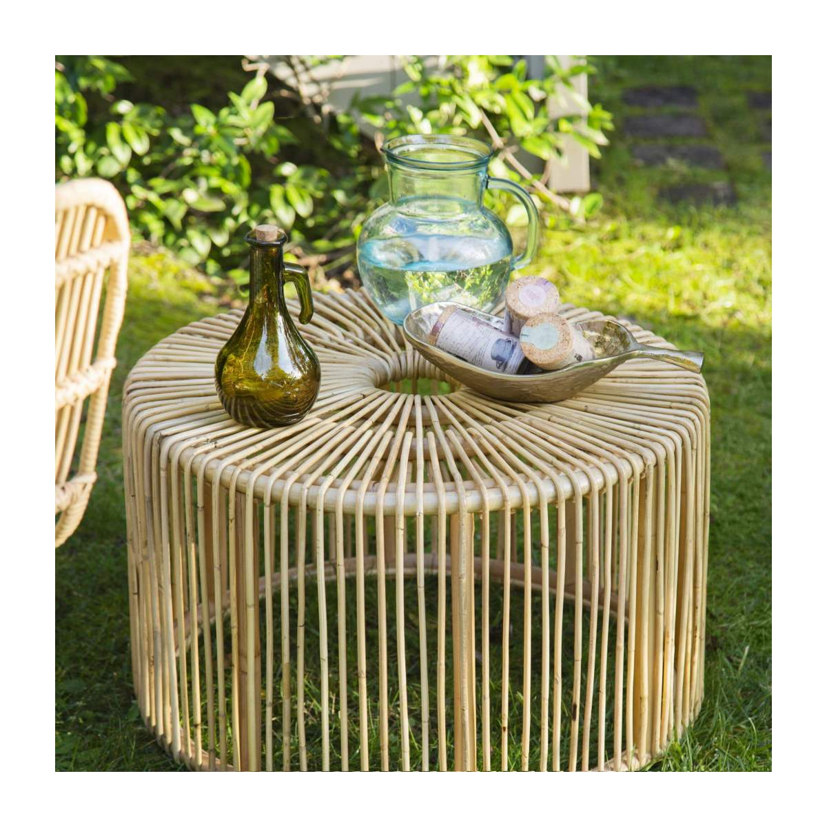 Table basse ronde en rotin - Naturel - Design by Marie Matsuura n°3
