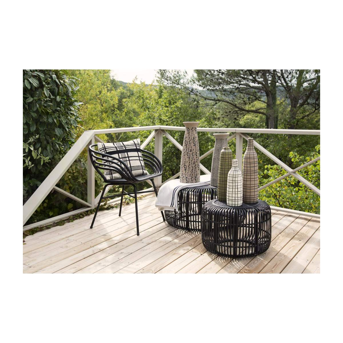 Set de 2 tables basses rondes en Rotin - Noir n°9