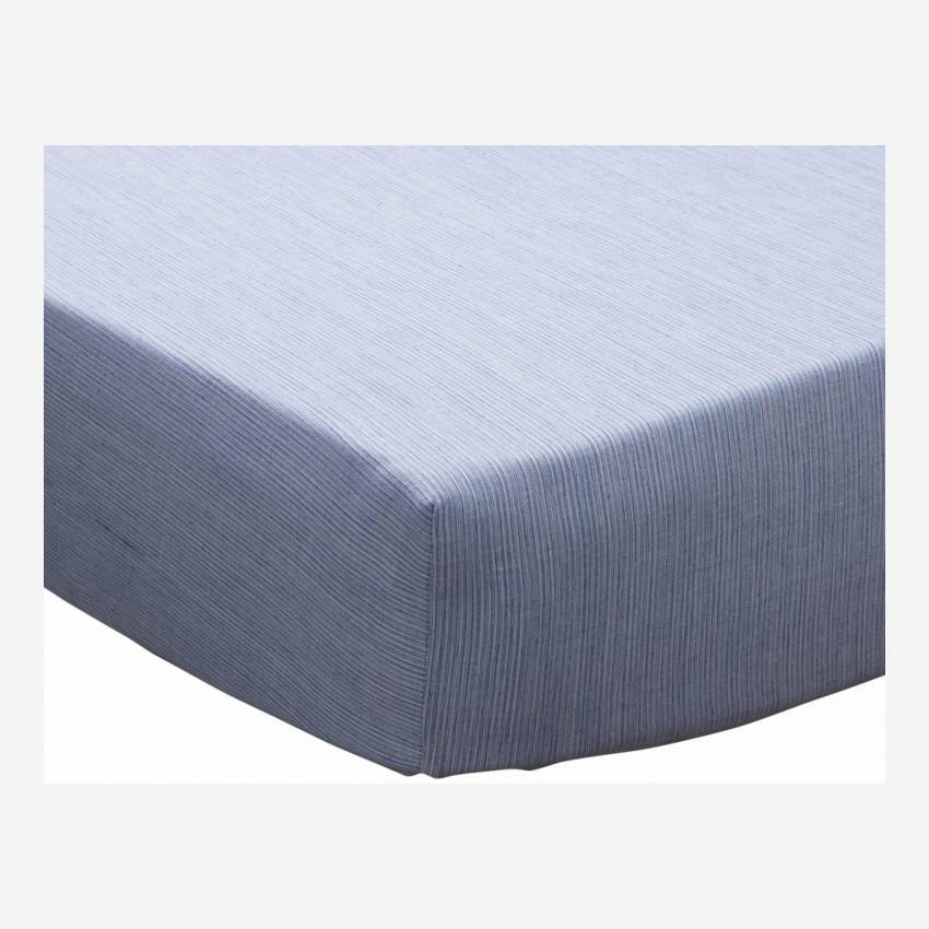 Cotton fitted sheet - 140 x 200 cm - Blue