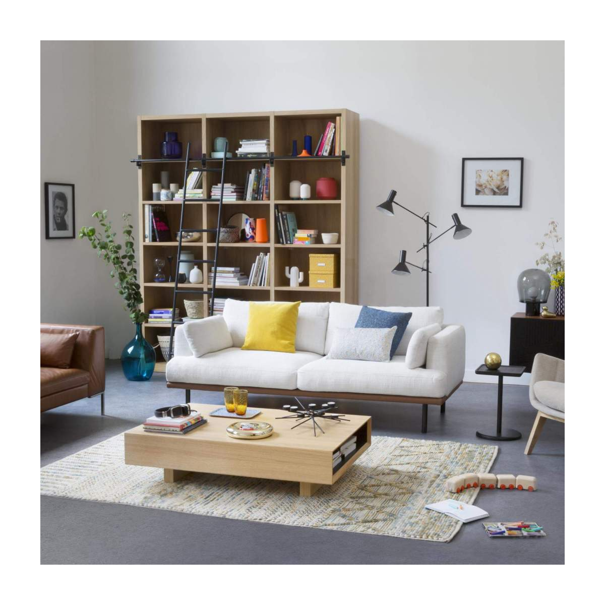 Wooden bookcase with ladder n°4