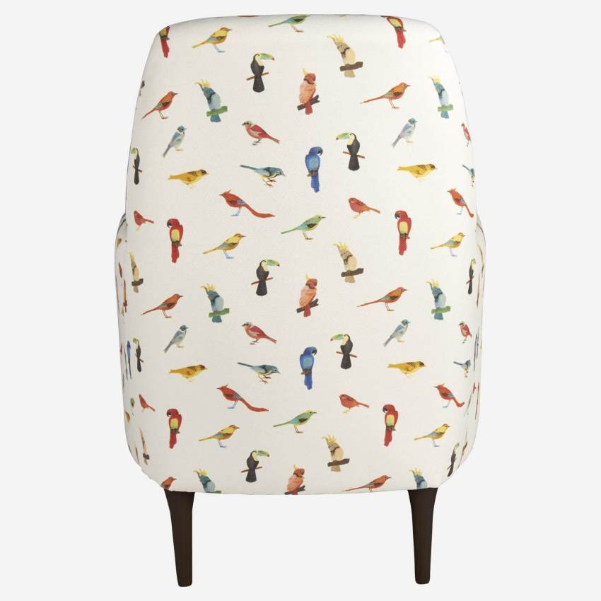 Fabric armchair, birds pattern
