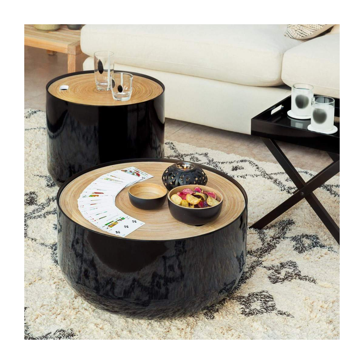 Black bamboo side table 40cm n°6