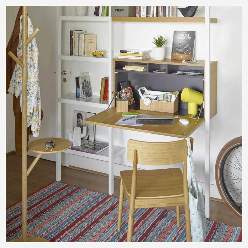 Lacquered white oak desk to hang
