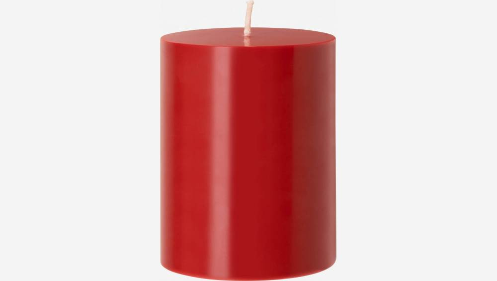 Bougie cylindrique - 7,5 x 10 cm - Rouge