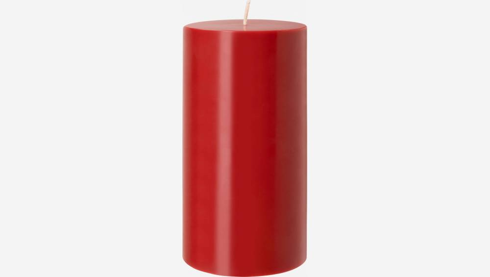 Bougie cylindrique - 7,5 x 15 cm - Rouge