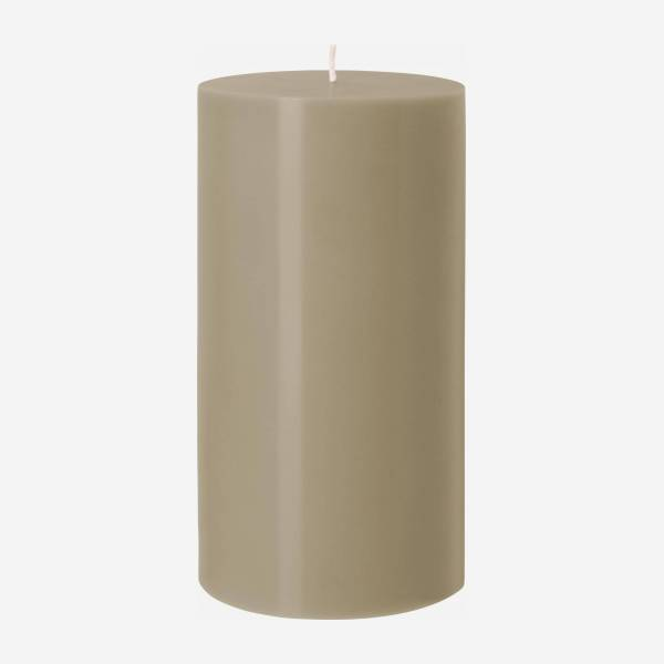 Bougie cylindrique - 10,5 x 20 cm - Taupe