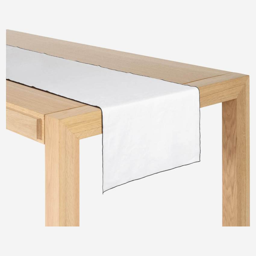 Travers de table en lin - 40 x 150 cm - Blanc