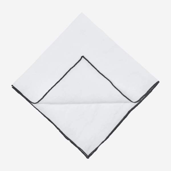 Lot de 2 serviettes de table en lin - 45 x 45 cm - Blanc