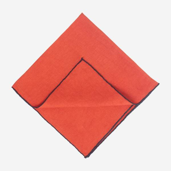 Lot de 2 serviettes de table en lin - 45 x 45 cm - Terracotta