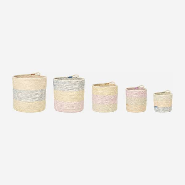 Lot de 5 paniers de rangement ronds en jute - Multicolore