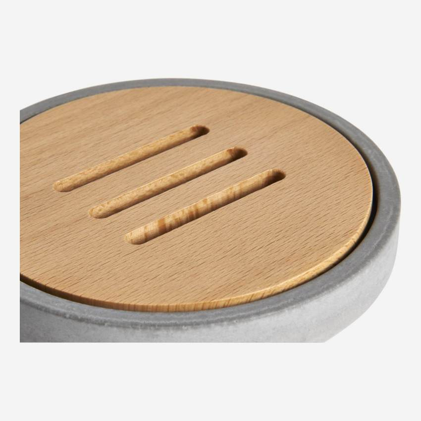Wood and concrete soap dish - Grey