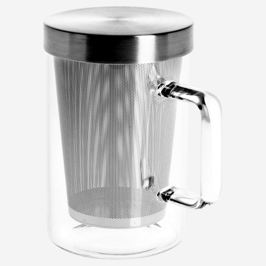 Glass mug with stainless steel built-in filter - 12 cm
