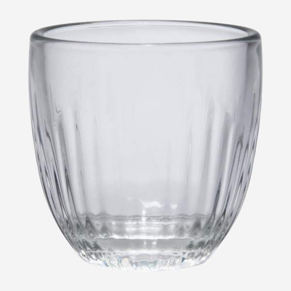 Grooved glass espresso cup