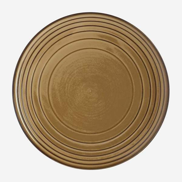 Assiette plate en porcelaine - 28 cm - Marron