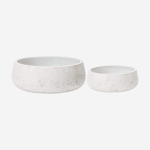 Set of 2 concrete-style resin bowls 13/9cm