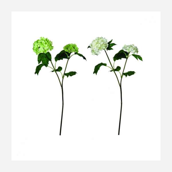 Set of 2 artificial green and white flowers 45cm