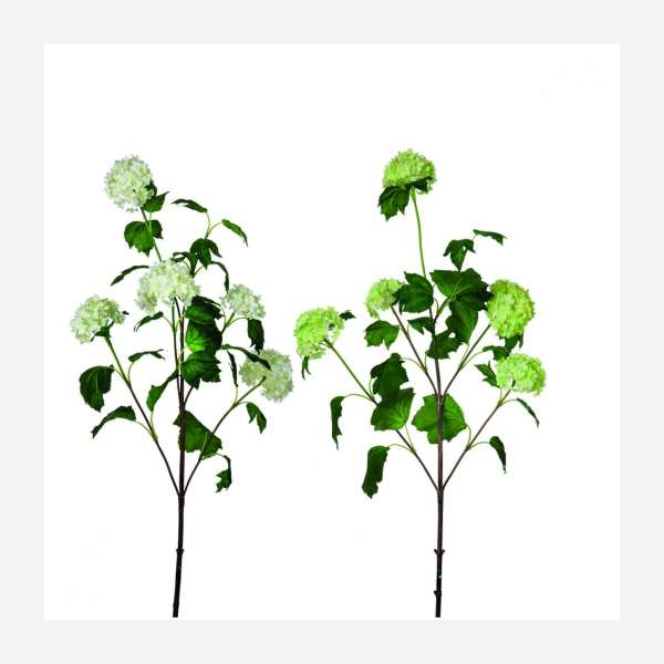 Set of 2 artificial green and white flowers 85cm