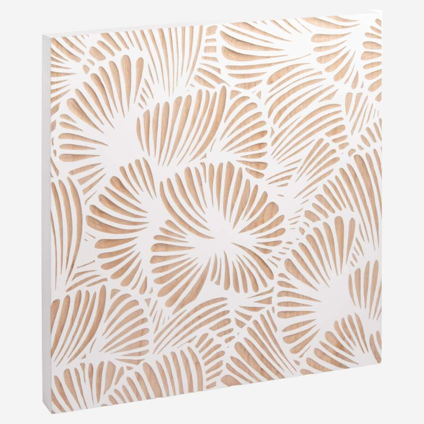 Hand-sculpted square wooden wall art - 60 x 60 cm