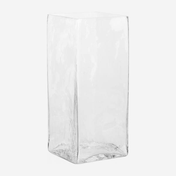 Vase rectangulaire en verre - 35 cm - Transparent