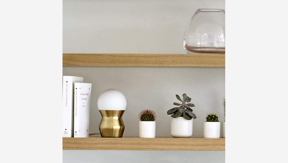 Glass mini table lamp 19cm with golden base