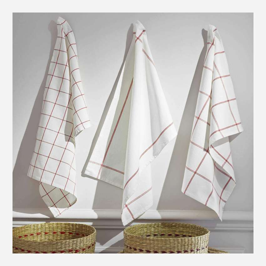 Set of 3 dish towel, red