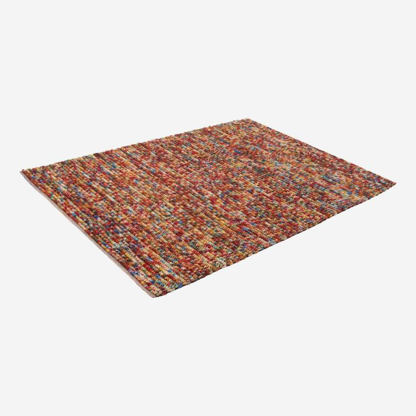 Multi-coloured woven woollen rug 240x170cm with motifs