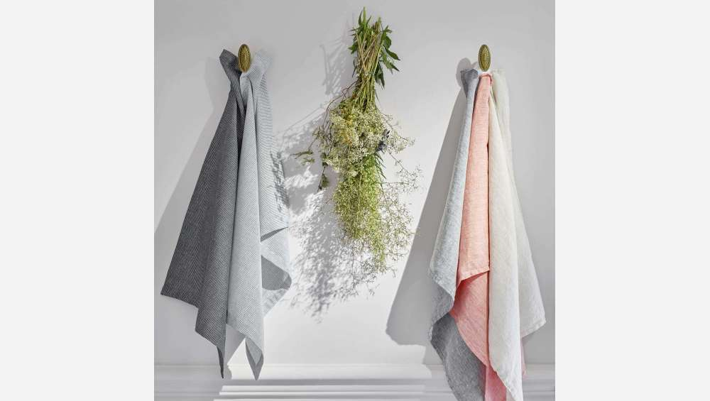 Kitchen towel 50x70cm made of flax, grey