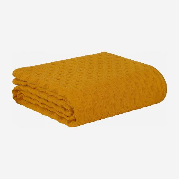 Bedspread 230x260cm yellow washed cotton