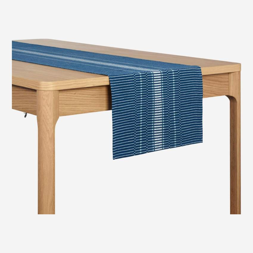 Chemin de table en coton - 200 x 40 cm - Bleu