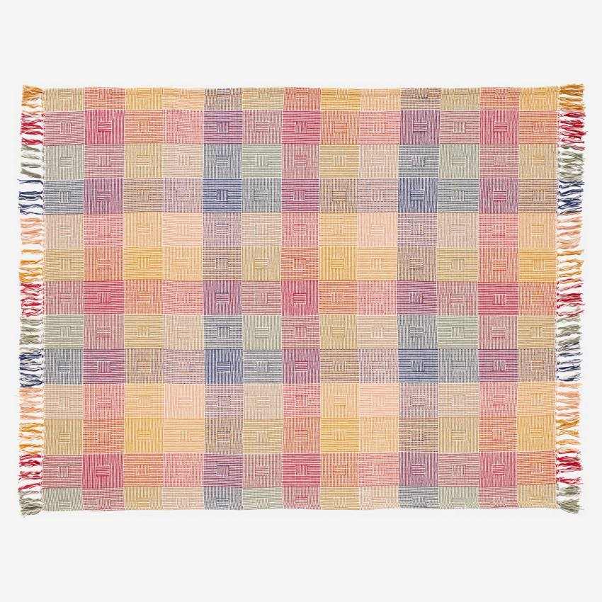 Plaid en coton - 130 x 170 cm - Patchwork de couleurs