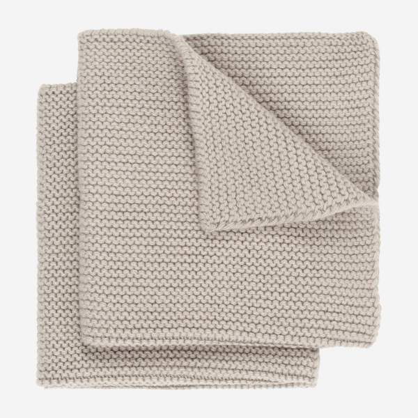 Lot de 2 serviettes de table en coton - 25 x 25 cm - Beige