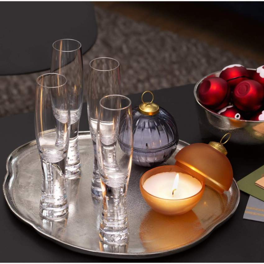 Set of 4 glass champagne flutes