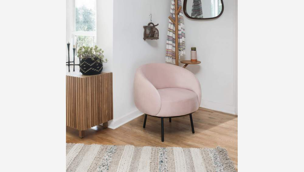 Fauteuil en velours - Rose - Design by Adrien Carvès
