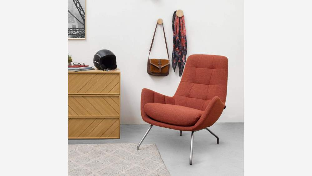 Armchair in Fasoli fabric, warm red rock with chromed metal legs