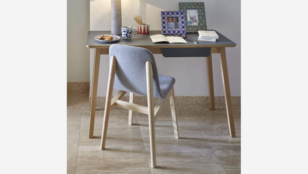 Chair made of ash tree and felt, grey