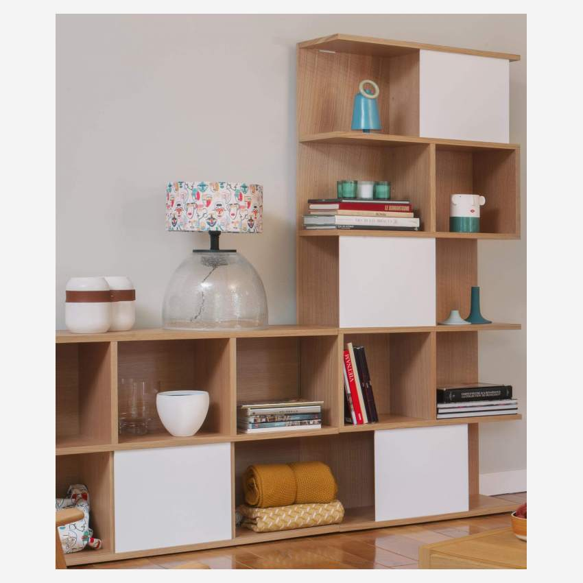 High bookcase, oak and white