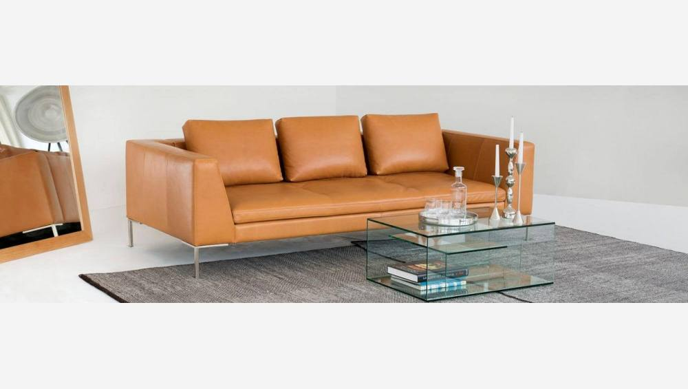 2 seater sofa in Eton veined leather, brown