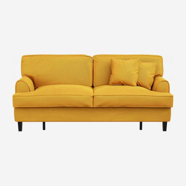 Canapé convertible 3 places en velours - Couchage 160x200 cm - Jaune moutarde