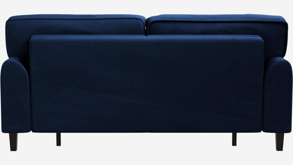 Canapé convertible 3 places en velours - Couchage 140x200 cm - Bleu