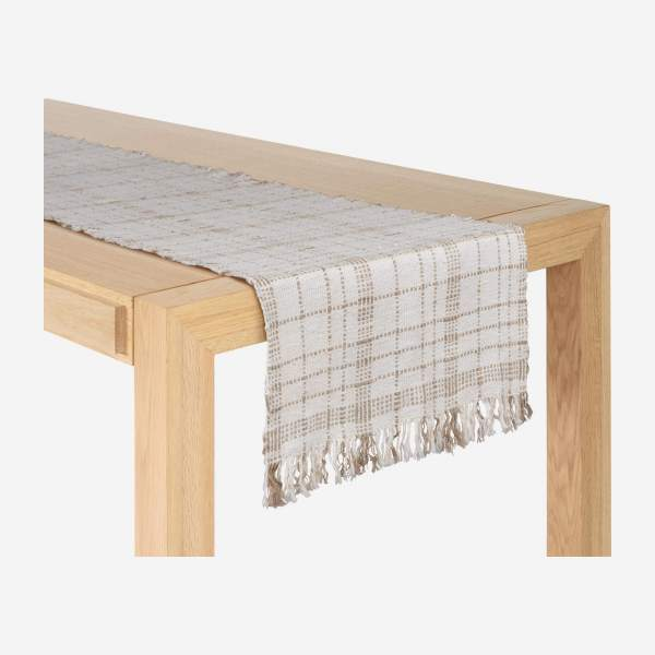 Chemin de table en coton - 40 x 140 cm - Blanc